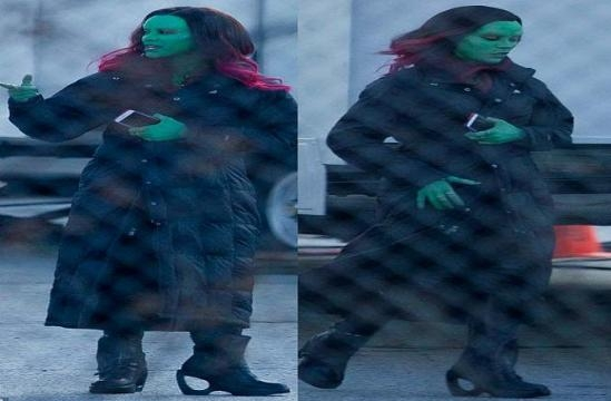 Gamora en el set de 'Guardianes de la Galaxia 2'