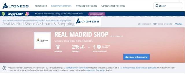 condiciones de compra tienda online del Real Madrid