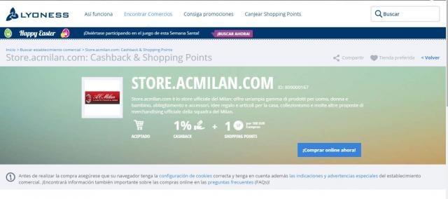 condiciones de descuento tienda del MILAN
