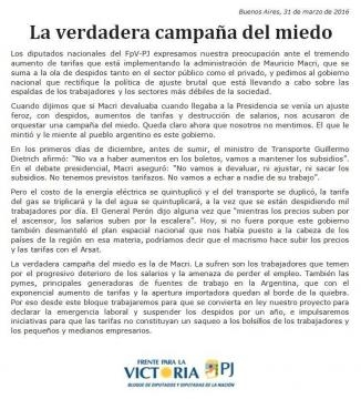 Comunicado oficial del Frente para la Victoria