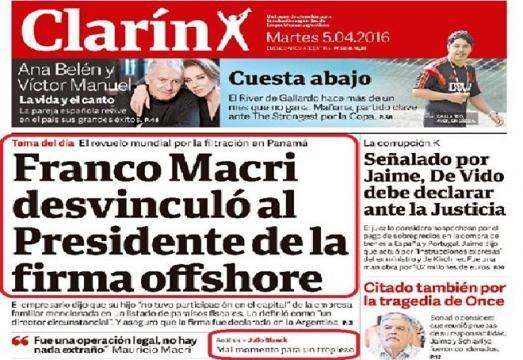 Blindaje de Clarin al presidente Macri