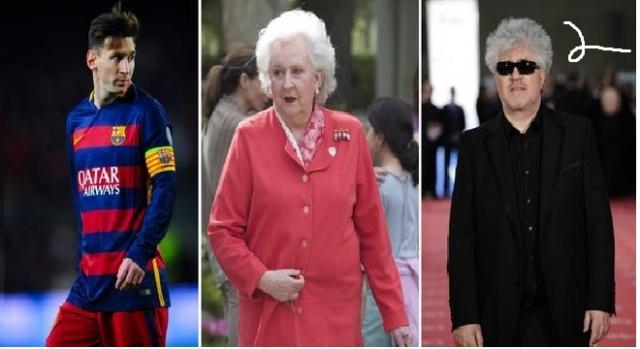 Messi, Pilar de Borbón y Pedro Almodóvar.