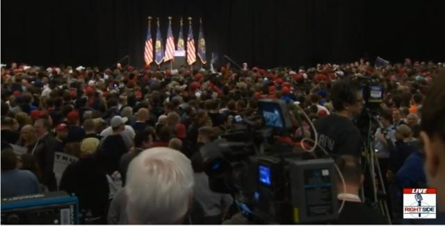 Pittsburgh Trump Rally, Over 10,000 people filling the Convention Center. via live streaming with Ride Side Broadcasting.