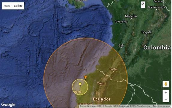Fuerte terremoto sacude el Ecuador Fuente: www..earthquaketrack.com