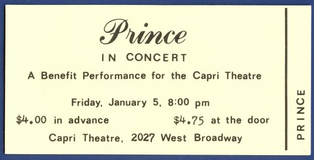 Il biglietto del primo concerto di Prince