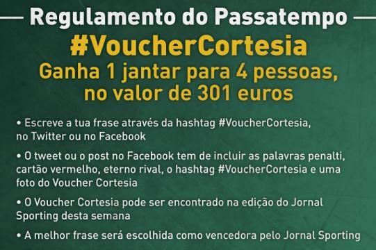 Voucher Cortesia do passatempo lançado pelo Sporting.
