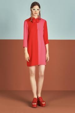 Minidress bicolor rosso e fuxia Dixie