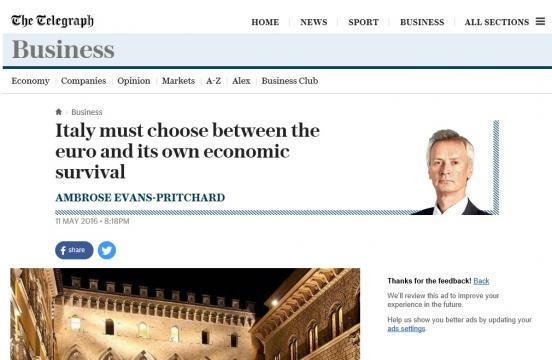 The Telegraph: economia italiana legata all'uscita dall'euro