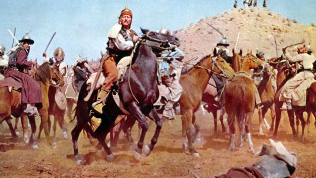 El famoso actor John Wayne como Genghis Khan