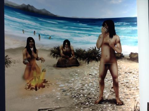 Representación de los primeros grupos humanos en la península