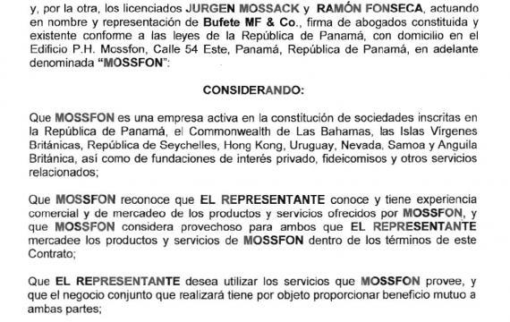Contrato de representación de Mossack & Fonseca Quito 2
