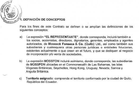 Contrato de representación de Mossack & Fonseca Quito 3