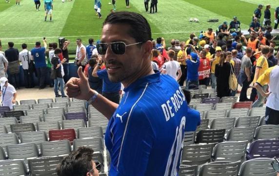 Borriello allo stadio a vedere Italia-Belgio
