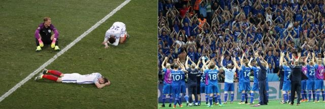 Moods: Distressed English side (left) and Iceland (right) celebrating the Win