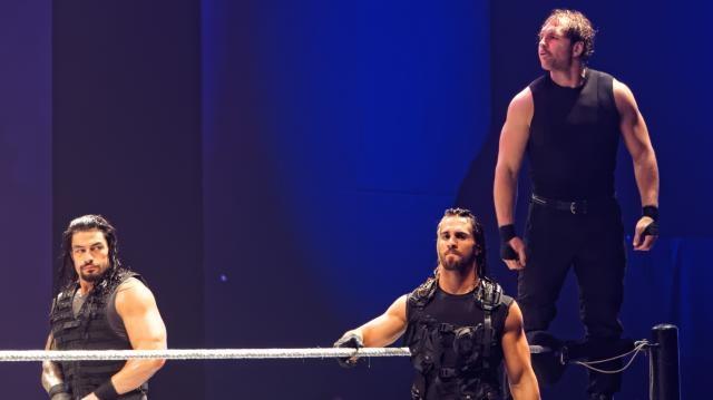 Roman Reigns, Seth Rollins & Dean Ambrose; May 2014 (photo via Flickr/Miguel Discart)
