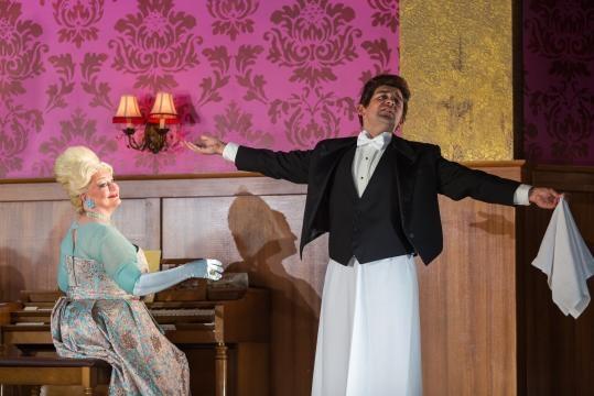 Nicholas Nestorak as the not-right-in-the-noggin Tobias Ragg, and the new Mrs. Lovett. Photo: Karli Cadel, courtesy of The Glimmerglass Festival.