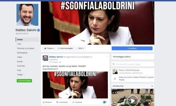 Salvini, bambola gonfiabile e offese alla Boldrini.