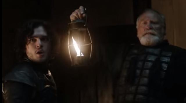 Game of Thrones: Jon can be burnt. Screencap: Tacgnol via YouTube