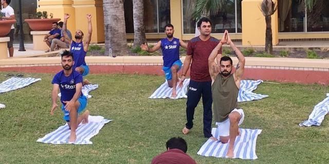 Virat Kohli and the Indian Players doing Yoga (Twitter)