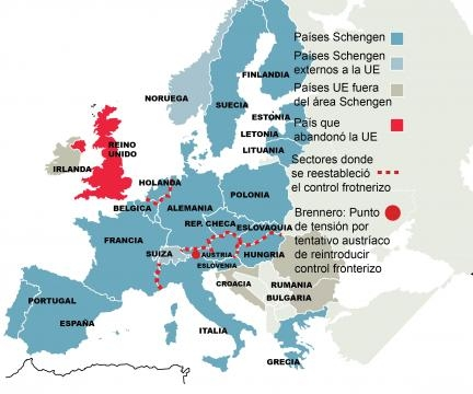 Modificación sufrida en las fronteras de los países miembros UE como consecuencia de los flujos migratorios de prófugos y refugiados de guerra sirios