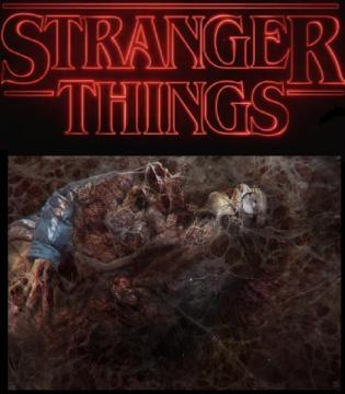 Barb destroçada, com uma aranha saindo de sua boca em Stranger Things.