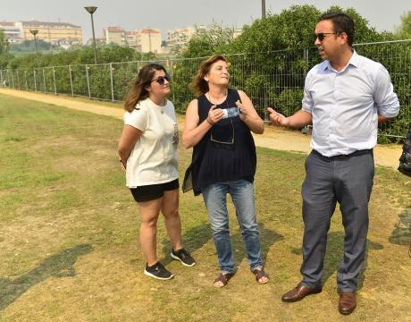 Silvério Regalado (presidente da Câmara de Vagos) com Inha e Carolina (assessoria de imprensa)
