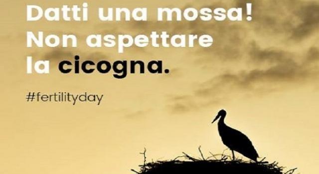 Slogan Fertility Day sulla cicogna