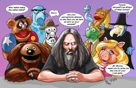 Alan Moore entouré du Muppet's Show