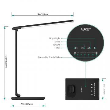 Aukey LT-T10 snodi della lampada e misure