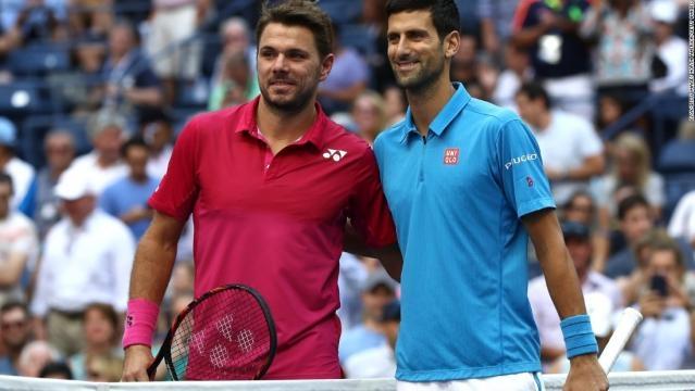 Wawrinka y Djokovic, instantes antes de comenzar la final del US Open