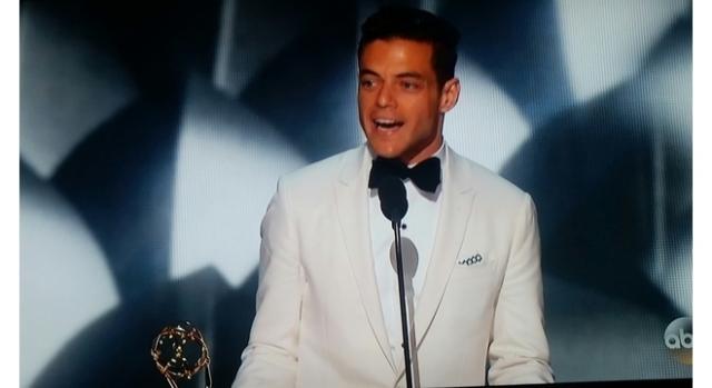 Actor Rami Malek at 68th Primetime Emmy Awards. Screenshot credit to Colleen Bement
