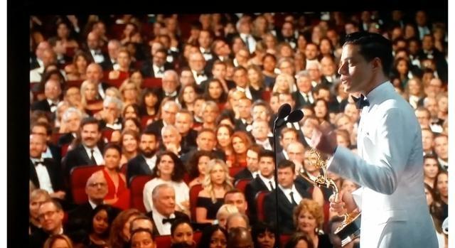 Rami Malek at 68th Primetime Emmy Awards. Screenshot credit to Colleen Bement