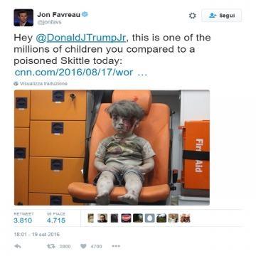 La risposta di Jon Favreau al tweet di Donald Trump Jr