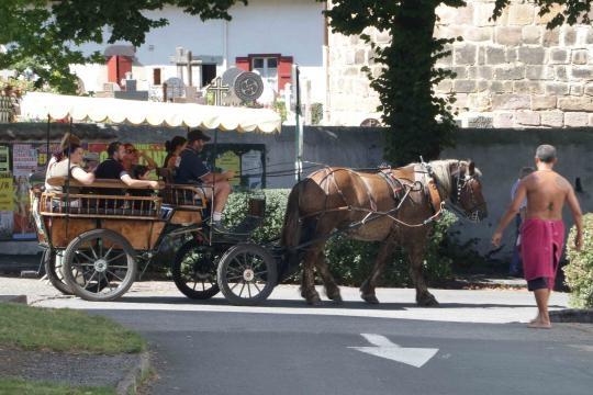 Ahinoa al norte de Francia, paseo en carreta por su calle principal.
