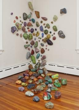 Elizabeth is strongly inspired by nature. The pieces in this installation resemble rocks. / Photo via Elizabeth Knowles, used with permission.