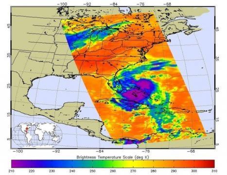 Immagine a infrarossi di Matthew. Crediti: NASA/JPL-Caltech.