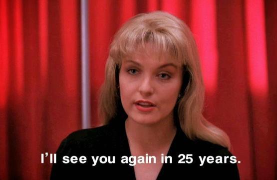 Laura Palmer nella scena in cui dice 'Ci rivediamo tra 25 anni'
