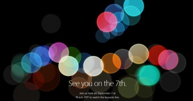 La locandina dell'evento dedicato ad iPhone 7