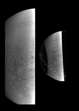 Vue rapprochée du pôle Sud de Jupiter