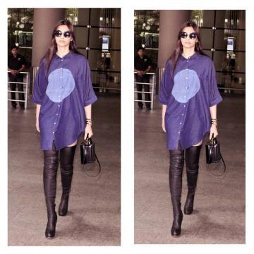 Sonam Kapoor wearing Bhane at the airport
