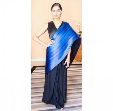Sonam Kapoor wearing blue saree