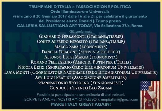 Invito all'evento dei Trumpiani d'Italia, la parte più radicale dei sostenitori di Donald Trump
