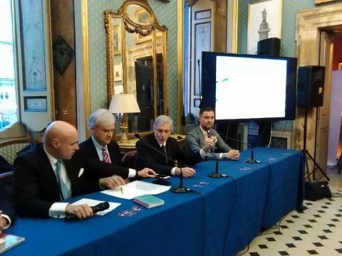 Un momento dell'evento della Presidential Inauguration, la parte moderata dei trumpiani in Italia