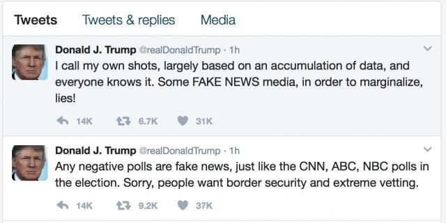 Trump takes to twitter to express his anger