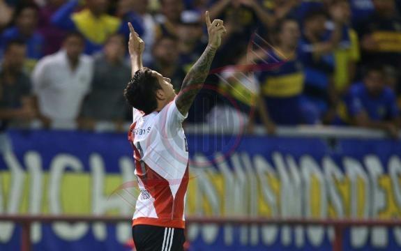 Seba Driussi grita su gol de frente a la gente de Boca. River se quedó con el Superclásico de verano