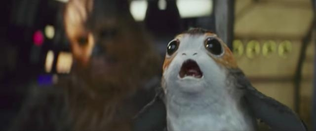Chewbacca and a penguin/guinea pig hybrid creature called a Porg- YouTube/Star Wars