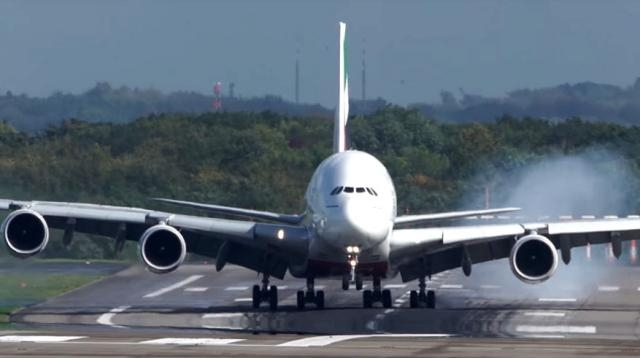 Video of an Emirates plane making a landing in strong crosswinds has gone viral [Image credit Cargospotter/YouTube]