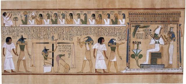 Anubis pesando el corazón del difunto en la balanza.