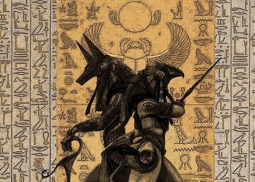 Anubis y Horus dioses protectores del inframundo.