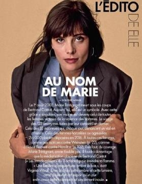 Portada de la revista Elle, homenajeando a Marie Trintignant, asesinada por Bertrand Cantat en 2003.